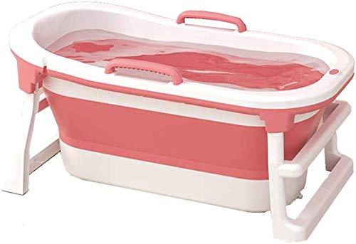 Lloow Badewanne Klappbadewanne, Tragbarer Großer Kunststoff-Haushalts-Ganzkörper-Whirlpool für Erwachsene, Freistehende Duschbadewanne 2020,Rosa