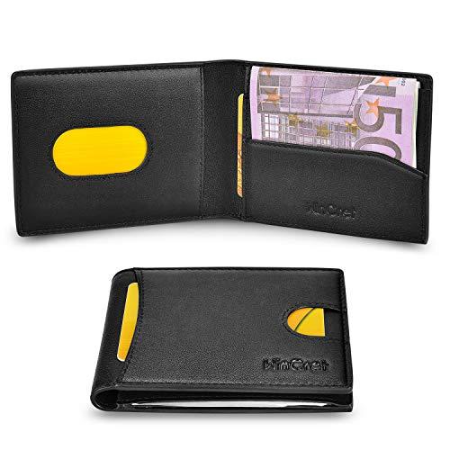 WinCret Portafoglio Uomo Sottile con Innovativo Clip per Contanti e porta monete/RFID Protezione Bifold Portafogli Piccolo in Vera Pelle