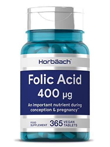 Folic Acid (Vitamin B9) 400mcg | 1 Year Supply 365 Tablets | Pregnancy Care | Vegan & Vegetarian Formula | Non-GMO, Gluten Free Supplement