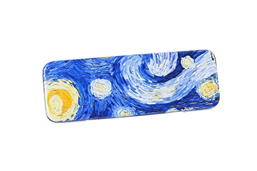 DAHO Tin Pencil Box with World Famous Arts for School, Office, Home, Makeup Storage (Starry Night)