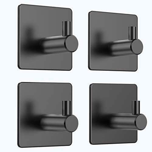 Selbstklebende Haken, Yosemy 4 Stück Edelstahl Kleiderhaken Handtuchhaken Wandhaken Bad und Küche Handtuchhalter Kleiderhaken Wasserdicht ohne Bohre, Schwarz