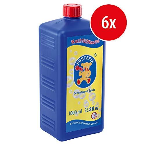 Pustefix Nachfüllflasche Maxi I 6 x 1000 ml Seifenblasenflüssigkeit I Bubbles Made in Germany I Seifenblasen für Hochzeit, Kindergeburtstag, Polterabend I Seifenblasen für Kinder & Erwachsene
