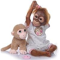 iCradle Muñeca Reborn Mono Reborn 21 Inch Silicona Muñeca 52cm Mono Bebe Muñeca Parece Realista Precioso Mono de Piel Juguete de colección