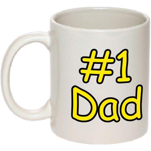 #1 Dad Mug - Number One Dad Coffee Mug Coffee Cup - Perfect for Birthdays! - Printed in USA! - 1 Dad Mug