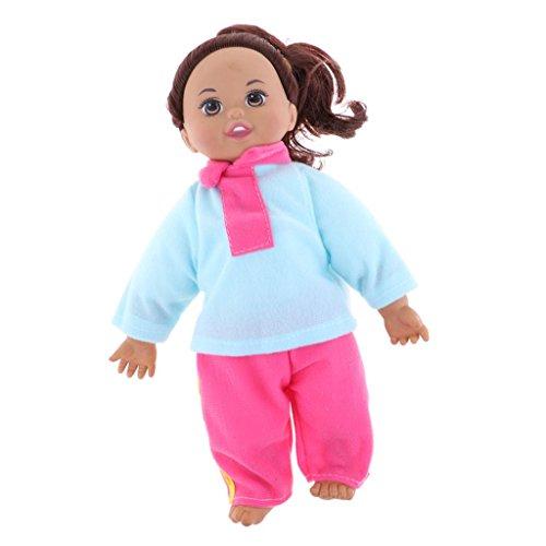 D DOLITY 31cm Lebensechte Vinyl Babypuppe Mädchen Puppe mit Lange Haar und Puppenbekleidung Set Kinderspielzeug - Blau