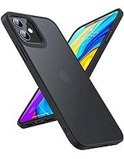 TORRAS 半透明 iPhone 12 用ケース iPhone 12 Pro 用ケース 米軍MIL規格取得 超耐衝撃 マット感 ストラップホール付き SGS認証 黄ばみなし レンズ保護 6.1インチ アイフォン12 用 12 Pro用カバー ブラック