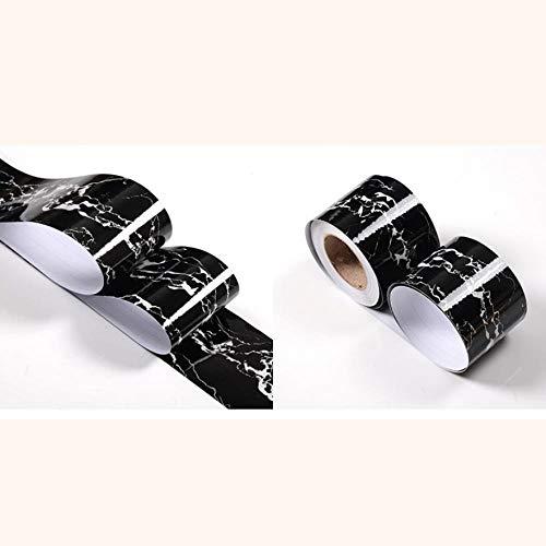 Papel pintado impermeable con ribete negro, autoadhesivo, extraíble, para cocina, baño, salón, azulejos, 15 x 1000 cm