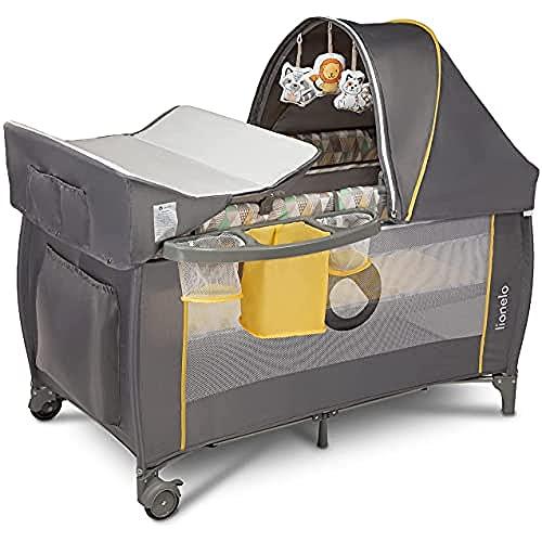 Lionelo Sven Plus 2en1 Cuna de viaje y parque de bebés 125 x 65 x 77 cm 0-36M Para niños hasta 15 kg Función de cambiador Mosquitero Apertura lateral con cremallera Ajuste de altura Gris y amarillo