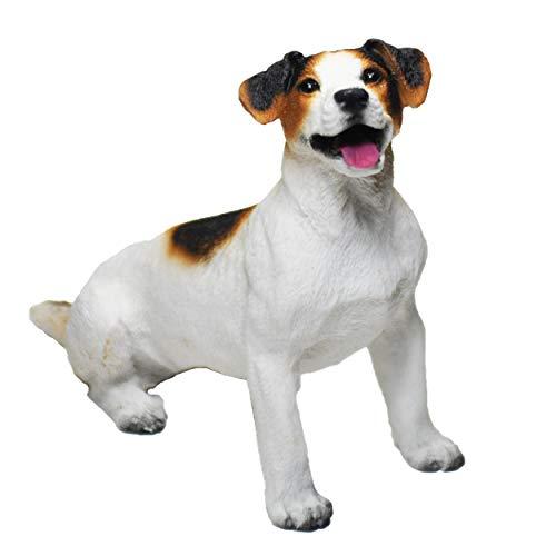 Figura Perro Jack Russel Terrier, Estatua de Perro, Escultura de Resina, Altura: 12cm. (Negro y Marrón)