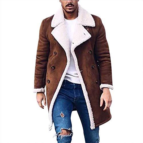 Xiangdanful Herren Mantel Winter Warme Wollmantel Felljacke Fleecejacke Lang Slim Fit Winterjacke Kunstleder Gefütterter Vintage Jacke mit Pelzkragen Männer Parka Trenchcoat Outwear (M, A-Braun)