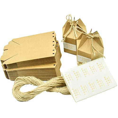 Wandefol 50 Pcs Boîte Cadeaux Kraft en Papier, Rétro Boîte de Bonbons Carton Emballages Cadeaux avec Étiquette & Corde de Chanvre pour Anniversaire, Mariage, Fête, Noël, Saint Valentin