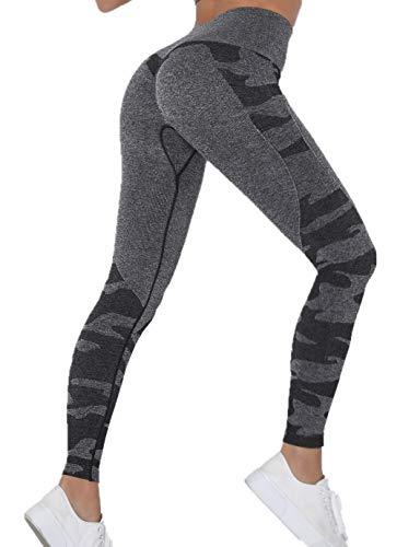 SHAPERIN Kompressions Sporthose Damen PO Push up Leggings Anti cellulite Leggins Hohe Taille Bauchweg Yoga Leggings Blickdicht Butt Lift Sport Tights in Schwarz Grau Rosa Lila(#1 Schwarz,S)