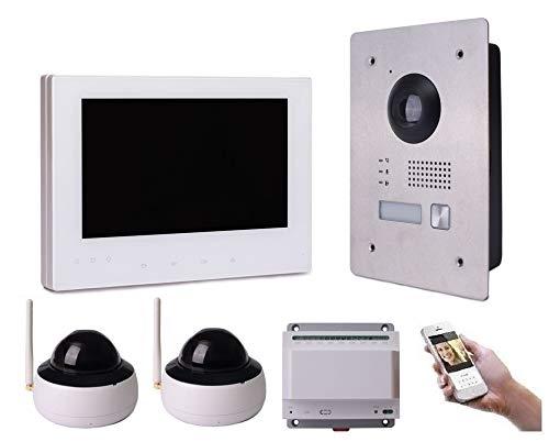 2 Draht IP Video Türsprechanlage Gegensprechanlage 7'' Monitor Weiß Kamera 170° HD mit oder ohne Überwachungskamera, Farbe: 1x7'' Monitor + 2X Kamera