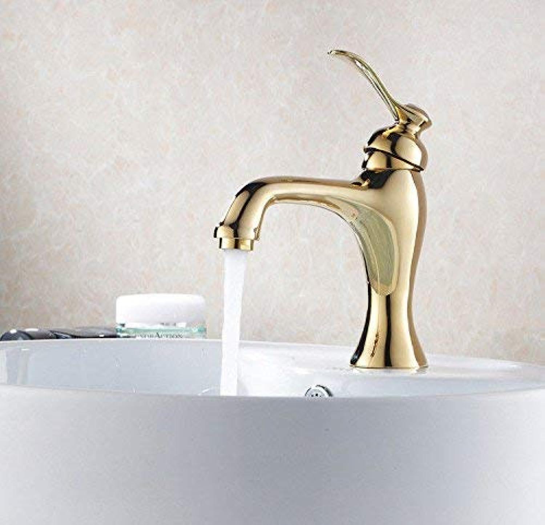 Kitchen Bath Basin Sink Mixer tap Faucet Sink Basin Mixer tap Solid Brass gold Plated Kitchen Sink tap hot and Cold Basin Mixer tap (color   -, Size   -)