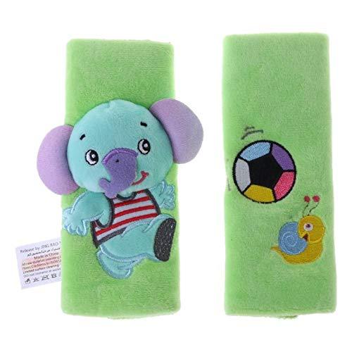 Protección Juegos De Pastillas De Hombro del Cinturón De Seguridad De Seguridad Cochecito De Dibujos Animados De La Felpa 2 Bebé (Color : Green)
