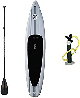 Tower Xplorer Inflatable 14' Stand Up Paddle Board - (8 Inches Thick) - Universal SUP Wide Stance - Premium SUP Bundle (Pump & Adjustable Paddle Included) - Non-Slip Deck - Youth and Adult
