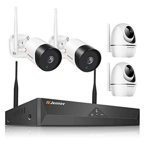 [Audio Aufnahme] Jennov Full HD 1080P Video Audio Überwachungskamera Set mit 2 x 2MP Wasserfeste IP Kameras& 2 MP Pan Tilt Fernzugriff Automatische Verbindung Vorinstallierte 1TB Festplatte