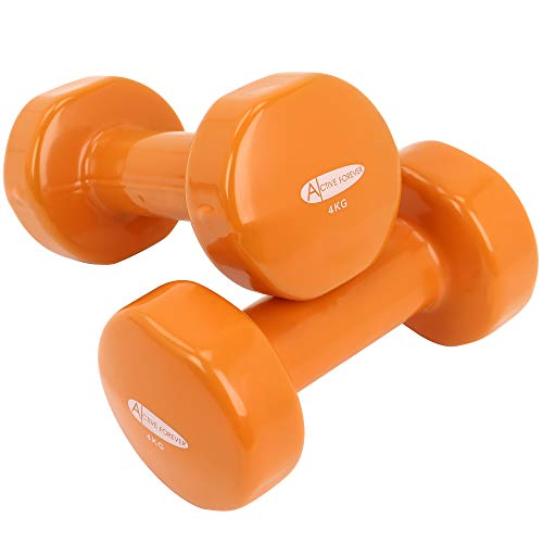 ActiveForever Dumbbell,Dumbbells in Pairs or Sets with Brackets,Non-Slip,Anti-Roll(Orange, 4Kg)