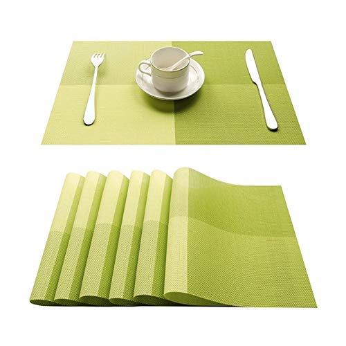 NJS Conjunto de 4 PVC bambú manteles de plástico for el Comedor de Mesa sábanas Estera de Lugar situado en Accesorios de Cocina Taza del Vino Mat (Color : C Green, Talla : Set of 6)