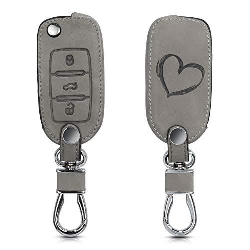 kwmobile Autoschlüssel Hülle kompatibel mit VW Skoda Seat 3-Tasten Autoschlüssel - Kunstleder Schutzhülle Schlüsselhülle Cover Herz Brush Grau