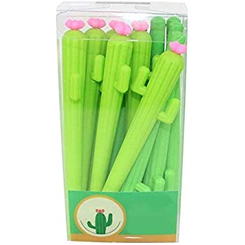 12Pcs Creative Cactus Shaped Roller Pens Gel Pen for Writing 0.38mm Black Ink Stationery School Office Supplies