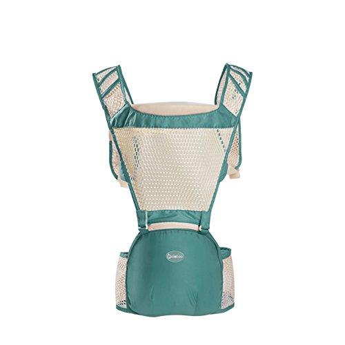 Porte-bébé, CONMING Muti-fonction Bébé Hip Seat Carrier Totalement Respirant Bébé Transporteur Sac à dos avec Siège Détachable pour l'été (green)