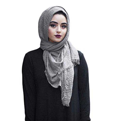 SAFIYA - Hijab Kopftuch für muslimische Frauen I Islamische Kopfbedeckung 90 x 180 cm I Damen Gesichtsschleier, Schal, Pashmina, Turban I Baumwolle - Hellgrau