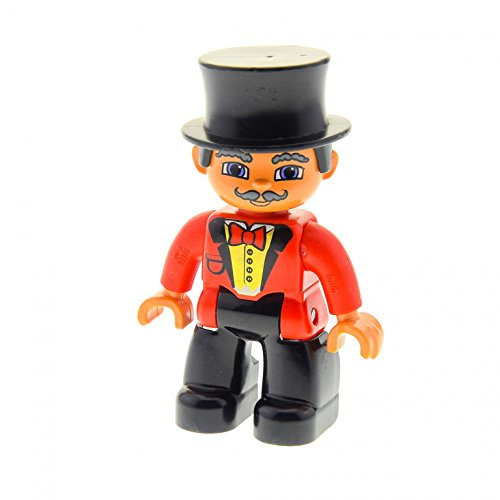 1 x Lego Duplo Figur Mann Zirkus Direktor Dompteur Hose schwarz Jacke rot mit Fliege Zylinder schwarz 47394pb110