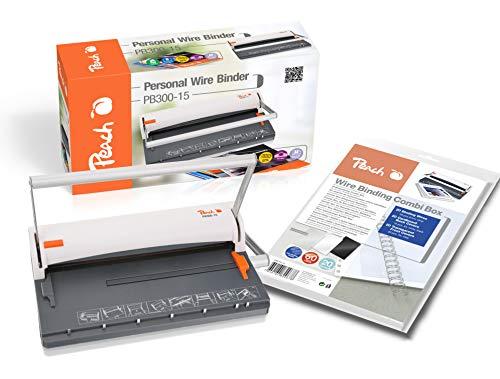 Peach PB300-15 - Rilegatrice a filo | Personal Wire Binder Closer DIN A4 | rilega 60 pagine | Include 34 pezzi dorsi 8 mm | Capacità di punzonatura 6 fogli