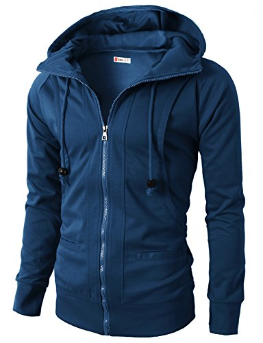 H2H Mens Casual Fashion Comfortable Jersey Slim Fit Hoodie Zip-Up Blue US M/Asia L (KMOHOL019)