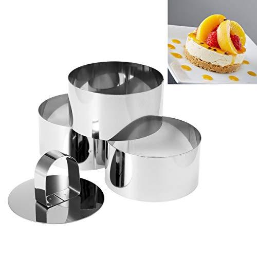 4 moldes de acero inoxidable para hornear, para hornear, para hacer pasteles, para cocinar alimentos y anillos redondos