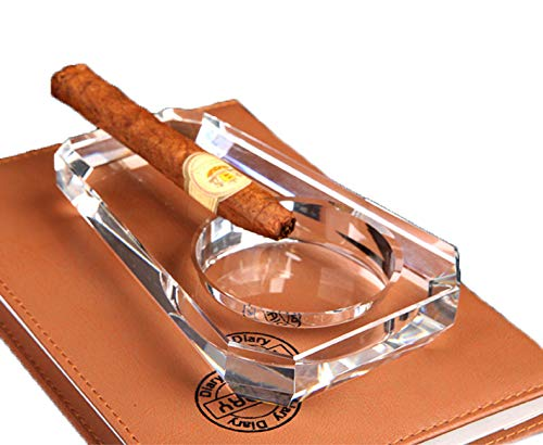 Cigar Ashtray, Crystal Glass Cigarette Holder for Men, Outdoor Ash Tray for Patio Indoor Outdoor Home Office Tabletop Desk Decoration