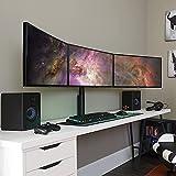 ECHOGEAR Soporte de escritorio para monitor triple para pantallas de hasta 27 pulgadas – Altura ajustable para cómodo juego y trabajo – funciona con 3 monitores verticales o horizontales