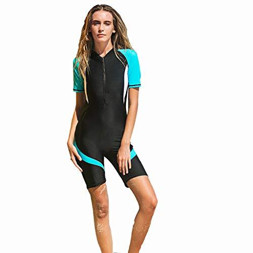 iYmitz Damen Sommer Badeanzug Einteiler Schnelltrocknend Bodysuit Professioneller Sport Frauen Bademode (XL, X2-Blau)
