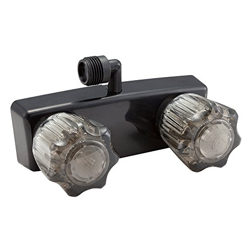Dura Faucet DF-SA100S1-BK RV Shower Faucet Valve Diverter for Exterior Shower Boxes with Crystal Acrylic Knobs (Black)