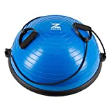Z ZELUS Balance Ball Trainer Half Yoga Exercise Ball with Resistance Bands and Foot Pump for Yoga Fitness Home Gym Workout (Blue)
