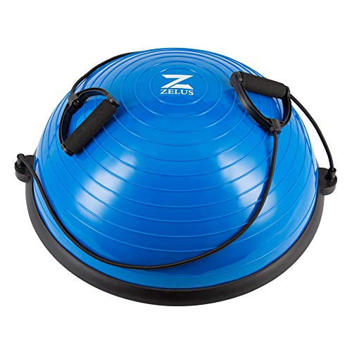 Z ZELUS Balance Ball Trainer Half Yoga Exercise Ball with Resistance Bands and Foot Pump for Yoga Fitness Home Gym Workout (Blue) Florida