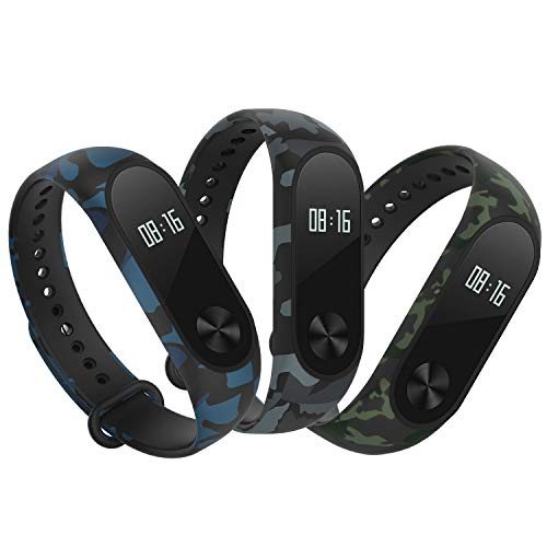 Hianjoo Strap 3 Pack Compatible with Xiaomi Mi Band 2 Adjustable Sport Accessory Soft Wristband Bracelet Replacement for Xiaomi Mi Band 2 Camouflage Type Blue Green Grey