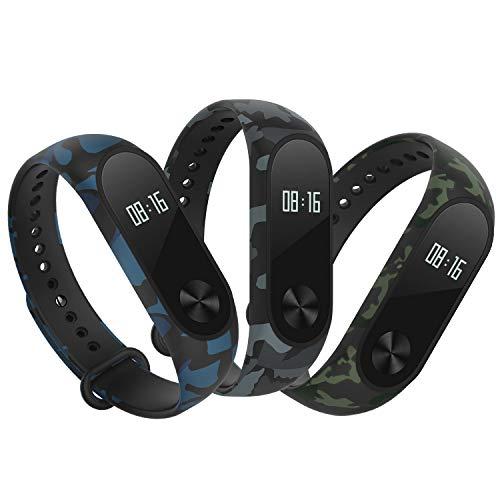 Hianjoo Cinturino Compatibile per Xiaomi Mi Band 2[3-Pack], Regolabile Cinturino Morbido per Cinturini Impermeabile Compatibile con Xiaomi Mi Band 2(Tipo Mimetico: Blu, Verde, Grigio)