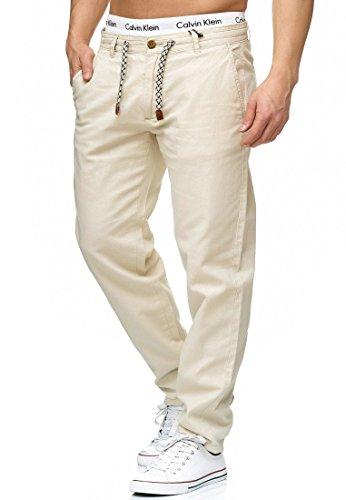 Indicode Herren Veneto Stoffhose aus 55% Leinen & 45% Baumwolle m. 4 Taschen | Lange sportliche Regular Fit Hose Moderne Baumwollhose Leinenhose Bequeme Freizeithose f. Männer Fog XL