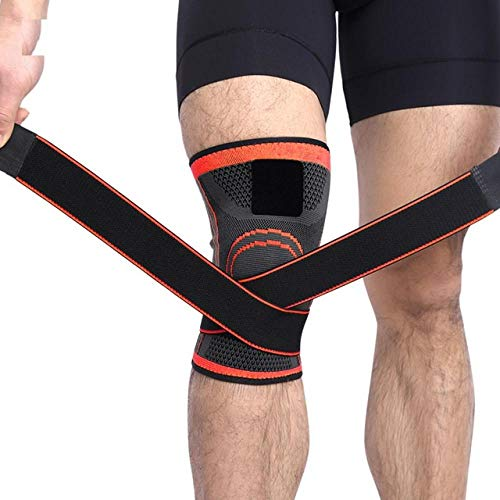 Gifftiy Kniepolster 1Pcs  3D Pressurized Fitness Running Cycling Bandage Knee Support Braces Elastic Nylon Sports Compression Pad-Orange_XL
