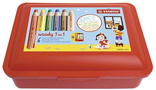 STABILO Buntstift, Wasserfarbe & Wachsmalkreide - woody 3 in 1 - 6er Pack in Box - mit 6 verschiedenen Farben