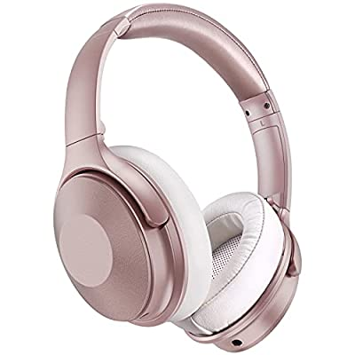 Active Noise Cancelling Headphones, 45 Hours Playtime, Quick Charge V5.0 Wireless Headphones Over Ear, Wireless/Wired Headset with Mic, HiFi Stereo Foldable Headphones for Travel/Work, Rose Gold by Votohrt