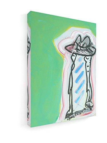 weewado Ernst W. Schneider - Zwei Figuren unter einem großen Hut 30x40 cm Premium Leinwandbild auf Keilrahmen - Wand-Bild - Kunst, Gemälde, Foto, Bild auf Leinwand -...