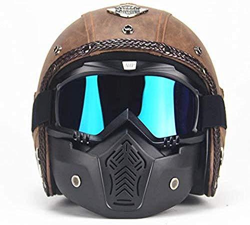 LWAJ Casco Motocicleta Harley, Jet Casco de Motocicleta ECE Homologado Casco Moto Abierto Custom Scooter para Mujer Hombre Adultos con Visera Cap Casco