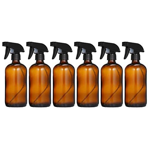 PIXNOR 6 Piezas Botellas de Spray Hidratante Botellas de Spray de Vidrio Portátiles Botellas de Spray de Jardín Botellas de Spray de Barbero Planta Botellas de Spray Mister para Marrón Líquido 500 Ml