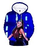 Stampa 3D Trend Singer Ariana Grande Felpa con Cappuccio per Donna,Ariana Grande Thank u, Next Felpa Hoodie Pullover Tinta Unita Manica Lunga per Ragazza Donna (B,S)