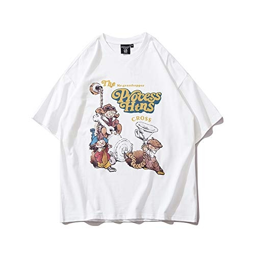 DREAMING-Sudadera de Verano de Manga Corta con Camiseta de algodón de Cuello Redondo Estampada Suelta para Hombres y Mujeres Camisas de Parejas S