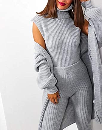 Crazy Fashion Womens 3 Piece Roll Neck Chunky Knitted Long Sleeve Top Tracksuit Ladies Ribbed Sleeveless Jumper Lounge Wear Set 2PCS Suit