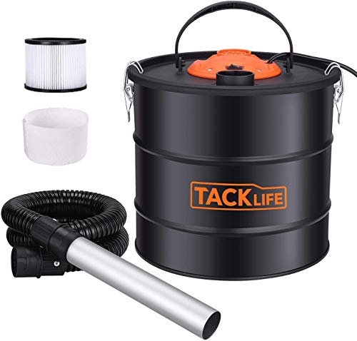 TACKLIFE Ash Vacuum with 5 gallon capacity and 800w fireplace vacuum, portable ash collectors with Metal hose and aluminum nozzle for fireplaces, wood stoves, pellet stoves and BBQ grills